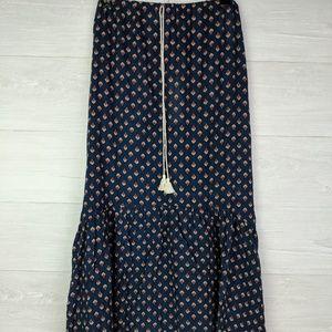 NWT Love Stitch Navy Print Boho Prairie Skirt